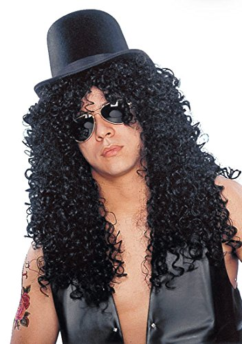 Slash from Guns N' Roses Rocker Wig and Top Hat with Mirrored Aviator Shades.