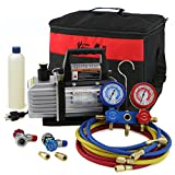 XtremepowerUS 3CFM or 4CFM Air Vacuum Pump HVAC A/C Refrigeration Kit AC Manifold Gauge Set ( 3CFM 1/4HP Air Vacuum Pump)