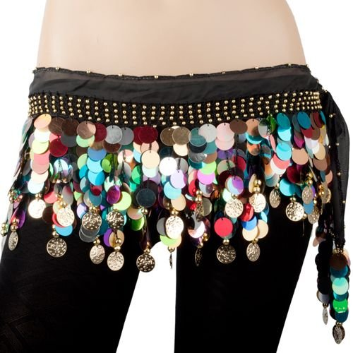 BellyLady Plus Size Belly Dance Hip Scarf With Colorful Paillettes