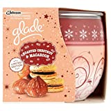 PACK OF 2 GLADE FRAGRANCED CANDLES IN DECORATED GLASS. ROASTED CHESTNUT AND MACAROON FRAGRANCE. LIMITED EDITION CHRISTMAS/HOLIDAY/WINTER SEASON.