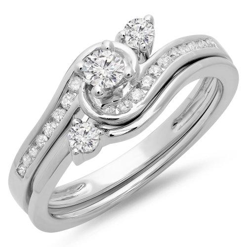 0.50 Carat (Ctw) 14K White Gold Round Diamond Ladies Bridal Twisted Engagement Ring Set 1/2 Ct (Size 7)