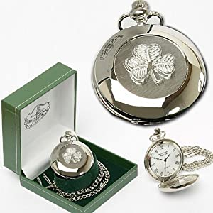 Irish Crafted Mullingar Pewter Celtic Shamrock Pocket Watch - 2 Inches in Diameter