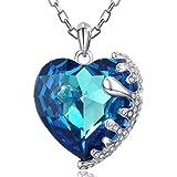 Regalo San Valentín-MARENJA Cristal-Collares Mujer Corazón Gargantilla Chapado en Oro Blanco Cristal Azul 40-45cm Regalos Mujer