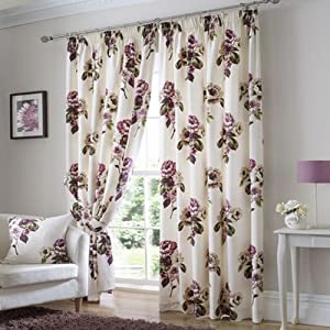 """Primrose Ready Made Curtains Fully Lined (Plum, 66"""" x 90"""") by PCJ SUPPLIES"""