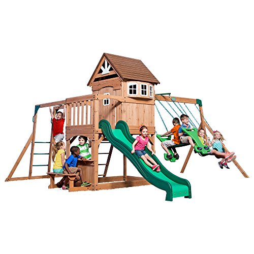 Backyard Discovery Montpelier All Cedar Wood Playset Swing Set (Wooden Playhouse With Slide compare prices)