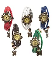 Felizo Combo Offer Set of 5 Butterfly Bracelet Vintage Multi Strap Red, White, Blue, Brown & Green Fancy Watch for Women