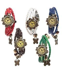 Felizo Combo Offer Set of 5 Butterfly Bracelet Vintage Multi Strap Red, White, Blue, Brown & Green Fancy Watch for Women