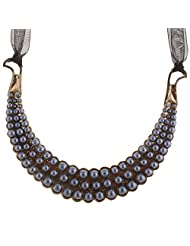 Mask Fashions Gold Metal Pearl Necklace For Women