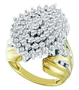 Pricegems 10K Yellow Gold Ladies Round Brilliant Diamond Cluster Set Ring (2 cttw, H-I Color, I1/I2 Clarity, Ring Size: 6)