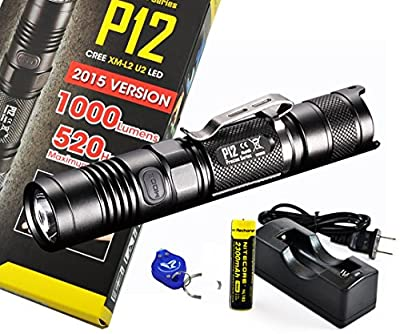 Rechargeable Bundle: Nitecore P12 1000 Lumens Compact Tactical LED Flashlight, Genuine Nitecore 18650 Rechargeable Battery and a LumenTac Charger from Nitecore