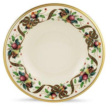 Lenox Holiday Tartan Gold Banded Ivory China Pasta Bowl/Rim Soup front-1040150