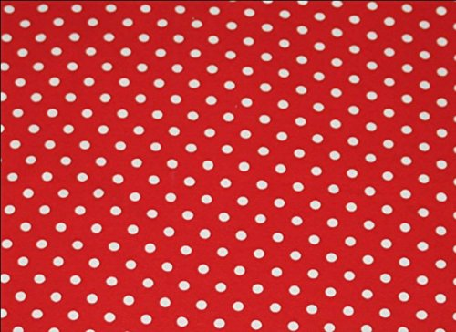 [Knit Red with Small White Dots Design Fabric By the Yard, 95% Cotton, 5% Lycra, 60 Inches Wide, Excellent Quality, 4 Way Stretch, medium weight (3] (Awesome 3 Person Halloween Costumes)