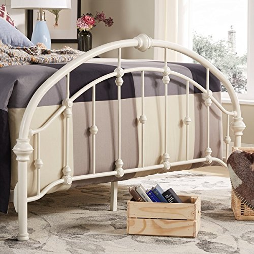White Antique Vintage Metal Bed Frame in Rustic Wrought Cast Iron Curved Round Headboard and Footboard Victorian Old Fashioned Bedroom Furniture Kit Mattress Bedding Not Included (Queen) 2