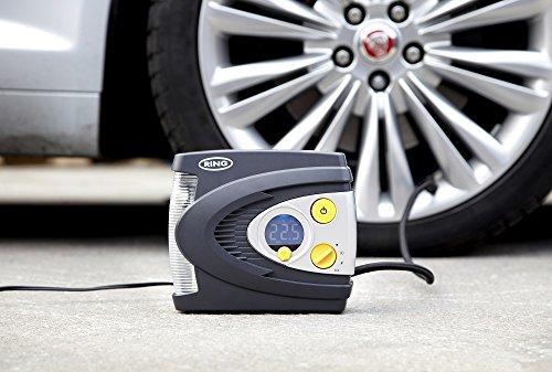 Ring RAC635 12V Preset Digital Tyre Inflator with Case, Adaptor Set and LED Light