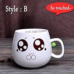 New 320ml Creative Cute Expression Ceramic Mugs Water Container Cups And Mugs Porcelain Tea Cup Coffee Mug Wholesale Style B