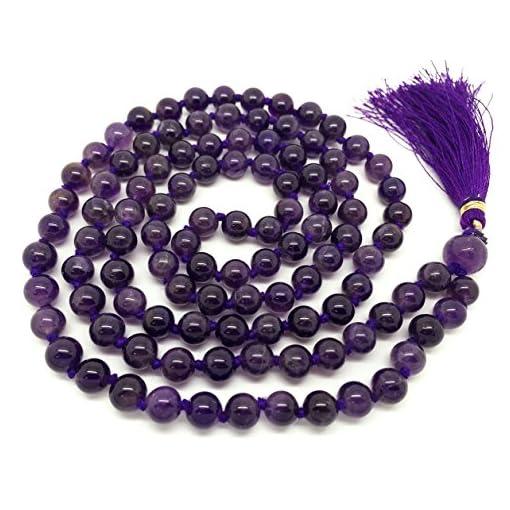 Amethyst-Japa-Mala-108-Perlen-jeweils-6-mm-breit-mit-Knoten-dazwischen-plus-1-grer-Guru-Perle-31-cm-in-der-Lnge-mit-echten-Edelsteinen-fr-den-Einsatz-in-der-Meditation-oder-als-Halskette