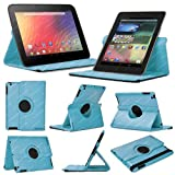 Stuff4 Leather Smart Case with 360 Degree Rotating Swivel Action and Free Screen Protector/Stylus Touch Pen for Google Nexus 7 - Light Blue