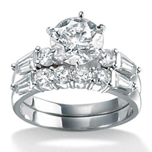 DiamonUltra Cubic Zirconia 10k Gold Wedding Ring
