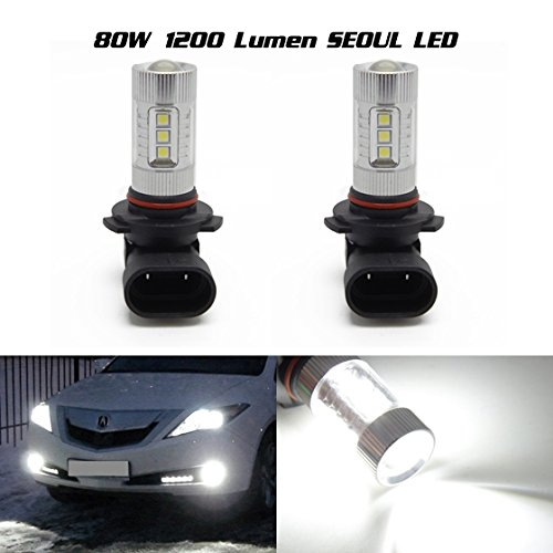 Partssquare 2X 9005 Hb3 80W Seoul 3030-Smd 9040 H10 Xenon White Fog Driving Projector Lens Bulb For 2014 Ford F-150 F-250 F-350 F-450 F-550