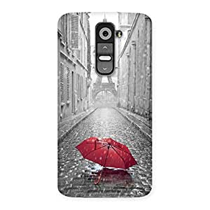 Delighted Tower Red Umbrella Multicolor Back Case Cover for LG G2