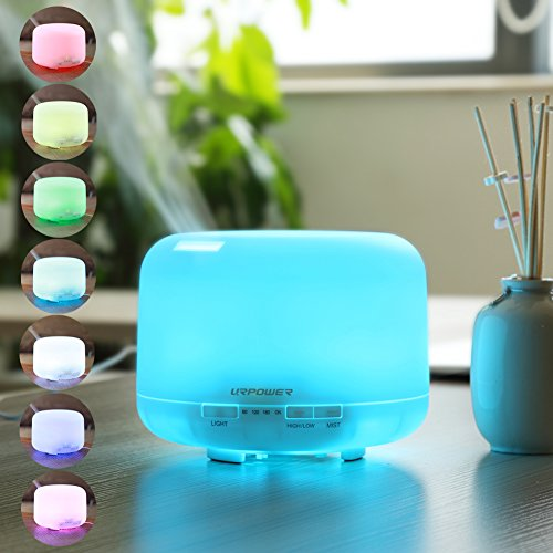 500ml Odour Essential Oil Diffuser,URPOWER® Ultrasonic Air Humidifier with 4 Timer Settings 7 LED Color Changing Lamps, 10 Hours Continous Drizzle Mode Running - AUTO shut off for Yoga Bedroom Baby Room