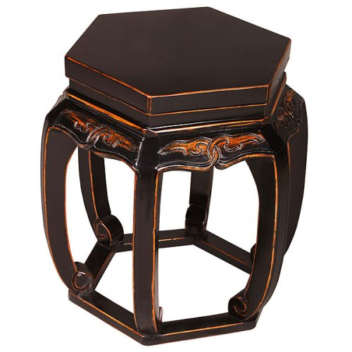 Cheap EXP Handmade 21″ Black Wood Hexagon Barrel Accent / End Table With Carved Open Leg Design (B000LN8TSG)