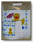 Polka Dot Rubber Spring Duck Bath Towel and Face Towel Set
