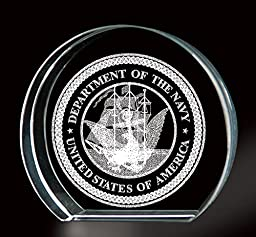 Navy 3-D Etching Paperweight