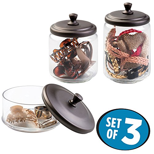 mDesign Hair Care and Accessories, Canisters for Bathroom Vanity to Hold Clips, Elastics, Bobby Pins, Barrettes - Set of 3, Clear/Bronze (Iron Vanity Set compare prices)
