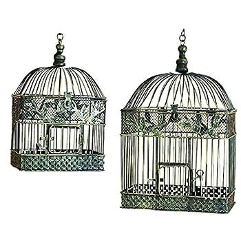 Deco 79 88016 2-Piece Metal Square Bird Cage Set