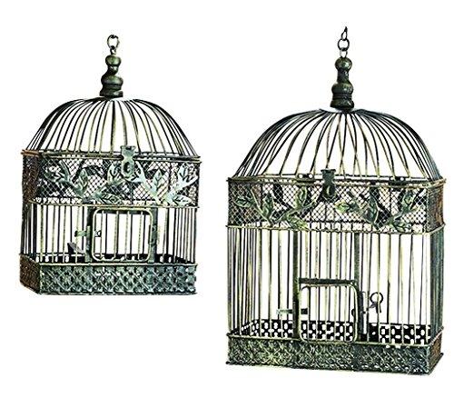 Deco 79 88016 2-Piece Metal Square Bird Cage Set 0