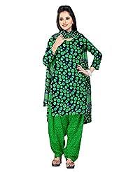 Prafful Navy Blue And Green American Vrepe Beautiful Printed Unstitched Salwar Kameez