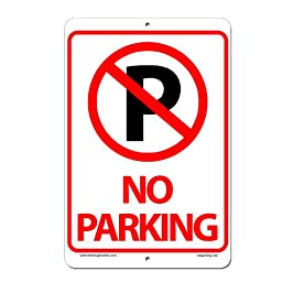 Mug Market No Parking Sign Aluminum Indoor Outdoor Sign, 8\