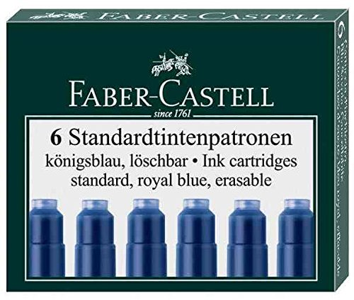 FABER-CASTELL Lot de 3 Etuis de 6 cartouches Standard effaçable Bleu royal