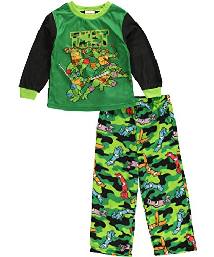 "Teenage Mutant Ninja Turtles Little Boys' Toddler ""Toughest Turtles"" 2-Piece Pajamas - Green, 3T back-735054"