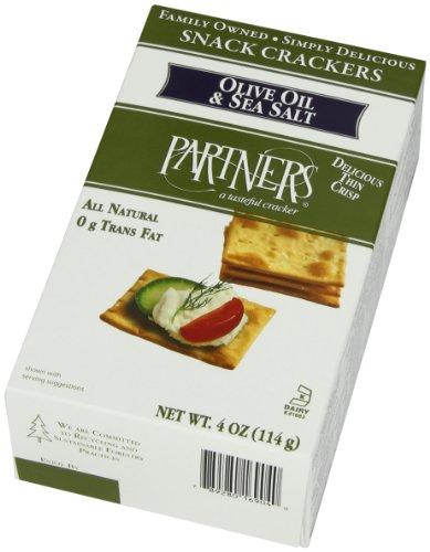 Partners All Natural Crackers, Olive Oil and Sea Salt, 4 Ounce (Pack of 6) by 