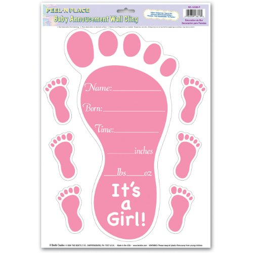 Beistle Company - Birth Announcement Wall Cling - Girl