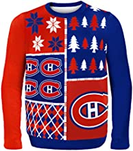 Forever Collectibles Montreal Canadiens Busy Block Ugly Sweater, Red, Extra Large