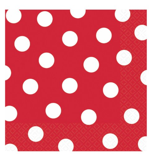 Red Polka Dot Lunch Napkins (36 count) - 1
