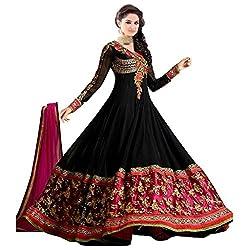 Black Georgette Embroidered Semi Stitched Anarkali Suit