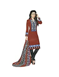 Siddhi Cotton Red Printed Salwar Suit & Dupatta Material - B0173RT7TM