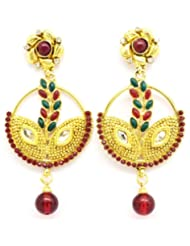 Dhasoo Maal Ethnic Collection Gold Plated, Red And Green Long Earrings For Women