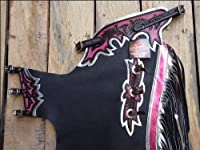 Hilason Black Smooth Leather Bronc Bull Riding Show Pro Rodeo Western Chaps from HILASON