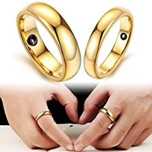 buy Brand High Quality Gold Tungsten Steel Couple Engagement Wedding Ring Fashion Women Men Jewelry Magnetic Stone Band Set