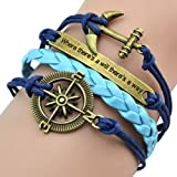 "BlueTop(TM) Fashion Vintage Nautical Rudder Anchor ""where theres a will there is a way""Blue Leather Rope Bracelet"