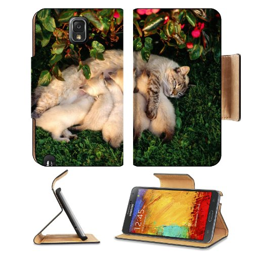 Mother Cat Kittens Drinking Milk Samsung Galaxy Note 3 N9000 Flip Case Stand Magnetic Cover Open Ports Customized Made To Order Support Ready Premium Deluxe Pu Leather 5 15/16 Inch (150Mm) X 3 1/2 Inch (89Mm) X 9/16 Inch (14Mm) Liil Note Cover Professiona front-686328