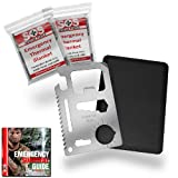 Credit Card Survival Tool - 11 in 1 Credit Card Tool is the Ultimate Survival Tool Making it an Integral Part of Your Survival Gear. This SOS Rescue Tools Multi tool includes 2 Emergency Blankets (Mylar) - 100% Money Back Guarantee