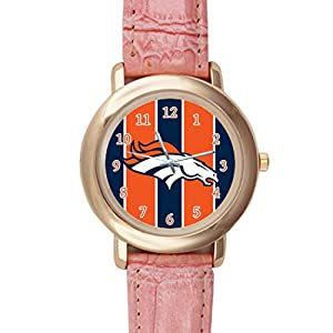 Time Walker Boys NFL Denver Broncos Luxury Analog Sport Steel Case Quartz Leather Pink Wrist Watch
