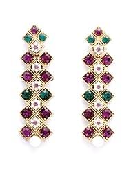 Stonesworld Diamond Shaped Zig-Zag Dangler Earrings With Multicolor Stones And Pearl For Women