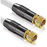 deleyCON [3m] SAT Antennenkabel PREMIUM HDTV FullHD Satellitenkabel - Koaxialkabel - F-Stecker zu F-Stecker - METALL - vergoldet 100dB 75Ohm